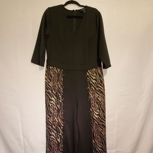 Black jumpsuit with metallic animal print.